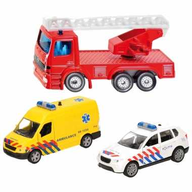 112 diensten wagens uitgebreide speelgoed set 3-delig die-cast