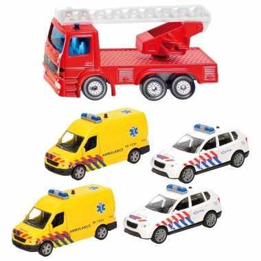 112 diensten wagens uitgebreide speelgoed set 5-delig die-cast