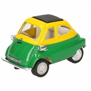 Modelauto bmw isetta groen/geel 6,5 cm