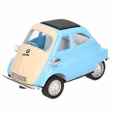 Modelauto bmw isetta lichtblauw/wit 6,5 cm