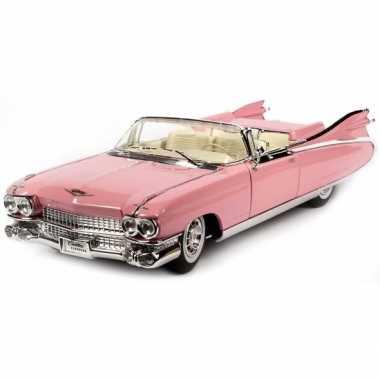 Modelauto cadillac eldorado roze 1:18