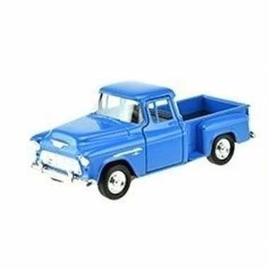 Modelauto chevrolet 1955 stepside blauw 1:34