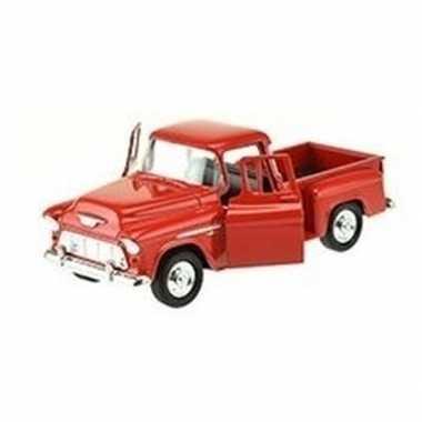 Modelauto chevrolet 1955 stepside rood 1:34