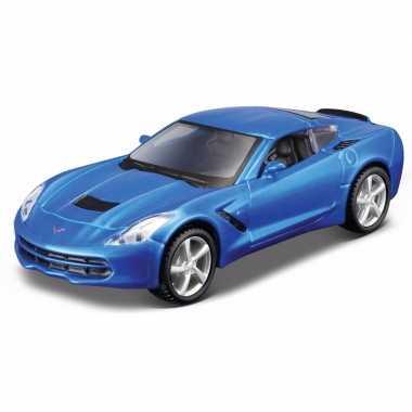 Modelauto chevrolet corvette blauw 1:32