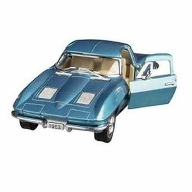 Modelauto chevrolet corvette blauw 13 cm