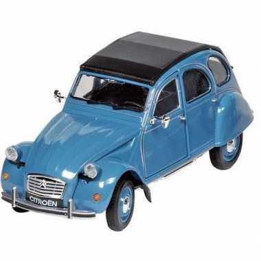 Modelauto citroen 2cv blauw/zwart 16,2 cm