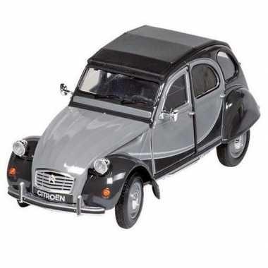 Modelauto citroen 2cv grijs/zwart 16,2 cm