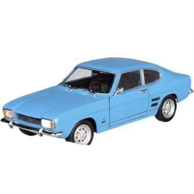Modelauto ford capri 1969 blauw 17,5 cm
