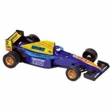 Modelauto formule 1 wagen blauw 10 cm