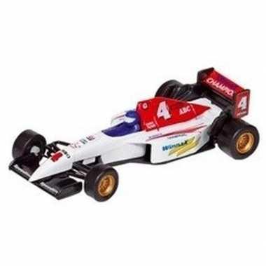 Modelauto formule 1 wagen wit 10 cm