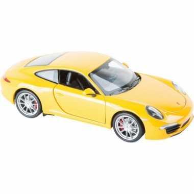 Modelauto gele porsche 911 carrera 1:24