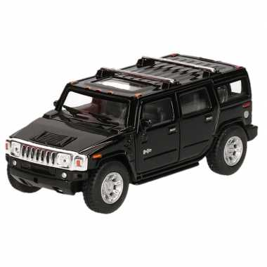 Modelauto hummer h2 suv zwart 12,5 cm