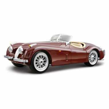 Modelauto jaguar xk 120 cabrio rood 1:24