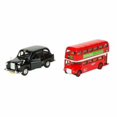 Modelauto london bus rood en taxi zwart 12 cm