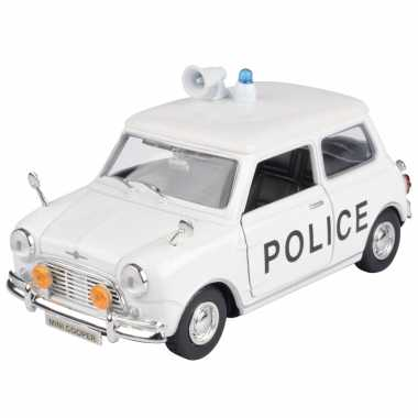 Modelauto mini cooper politie auto wit schaal 1:18/17 x 8 x 8 cm