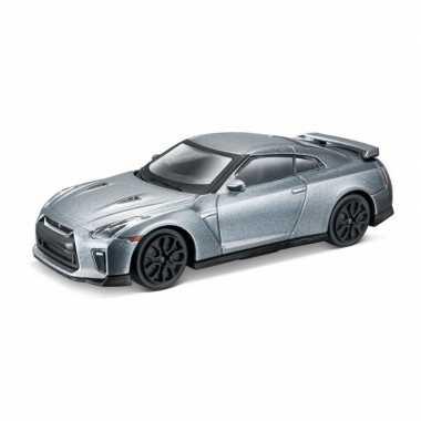 Modelauto nissan gt-r 2017 grijs schaal 1:43/11 x 4 x 3 cm
