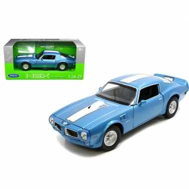 Modelauto pontiac firebird trans am 1972 blauw/wit 1:34