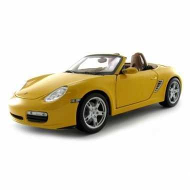 Modelauto porsche boxter s cabrio geel 1:18