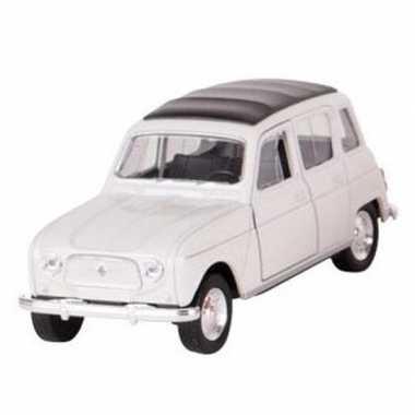 Modelauto renault 4 wit 11 cm