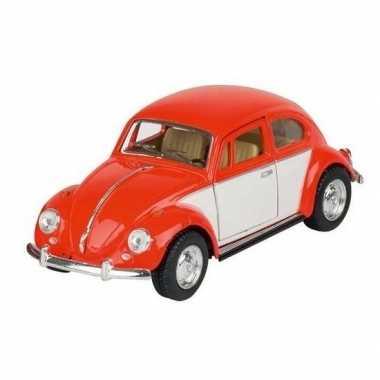 Modelauto volkswagen kever oranje/wit 13 cm