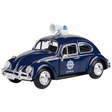 Modelauto volkswagen kever politie auto 1966 blauw schaal 1:24/17 x 7 x 6 cm