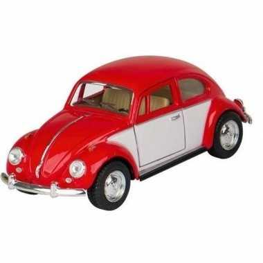 Modelauto volkswagen kever rood/wit 13 cm