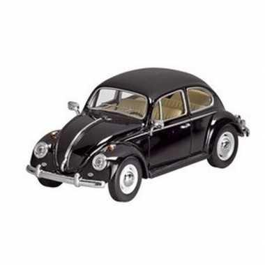 Modelauto volkswagen kever zwart 17 cm