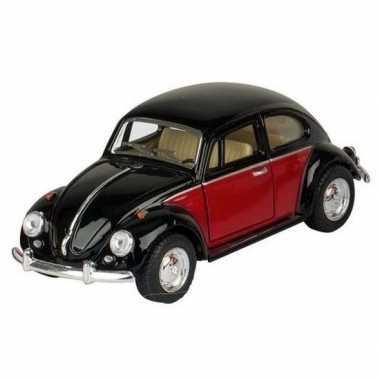 Modelauto volkswagen kever zwart/rood 13 cm