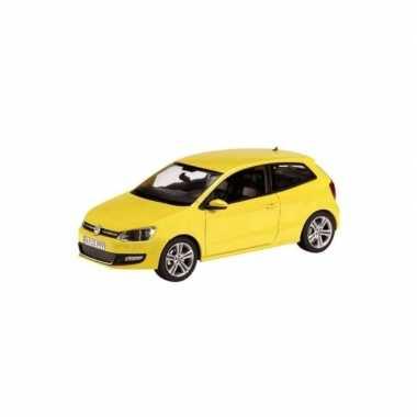 Modelauto volkswagen polo gti mark 5 geel 1:43