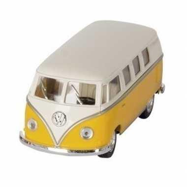 Modelauto volkswagen t1 geel/wit 13,5 cm