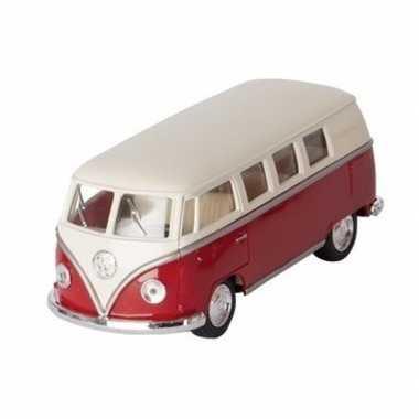 Modelauto volkswagen t1 rood/wit 13,5 cm
