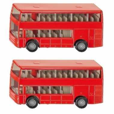 Set van 3x stuks siku dubbeldekker bussen speelgoed modelauto 10 cm