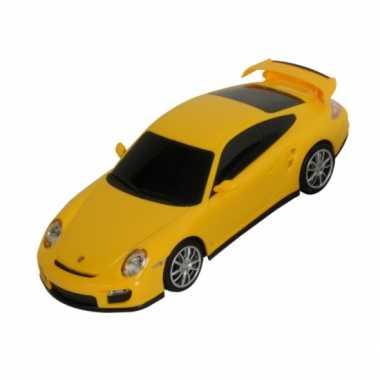 Speelgoed gele porsche 911 turbo auto 16 cm