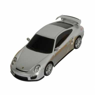 Speelgoed zilveren porsche 911 turbo auto 16 cm