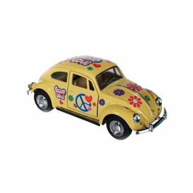 Vw kever modelauto geel