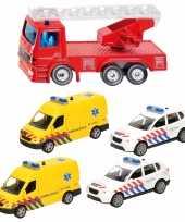 112 diensten wagens uitgebreide speelgoed set 5 delig die cast